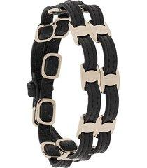 salvatore ferragamo vara double-strap buckle bracelet - black