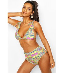 tropical tile print tie shoulder high waist bikini, yellow
