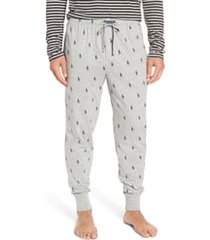 men's polo ralph lauren pony print pajama pants, size medium - grey