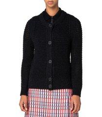 women's akris punto mesh stitch wool blend cardigan, size 6 - black