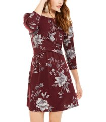 be bop juniors' floral-print twist-front dress