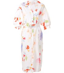 peter pilotto floral belted midi dress - white