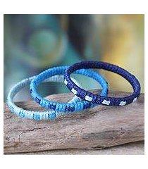 bangle bracelets, 'blue fantasy' (set of 3) (ghana)