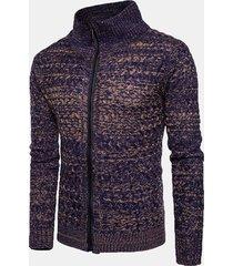 cardigan in maglione casual con cerniera e collo alto lavorato a maglia da uomo