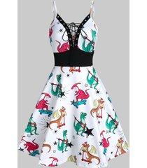 dinosaur print lace up mini cami dress