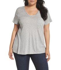 plus size women's caslon rounded v-neck tee, size 1x - grey