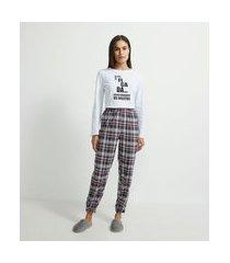 pijama blusa manga longa e calça em algodão xadrez | lov | branco | pp