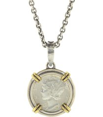 silver and brass dime pendant necklace