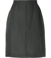krizia pre-owned micro check-print pencil skirt - grey