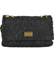 ermanno scervino black weave shoulder bag