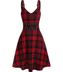 buckles eyelet plaid lace up dress