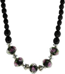 "2028 silver-tone black floral beaded 15"" adjustable necklace"