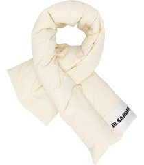 jil sander padded logo patch scarf - neutrals
