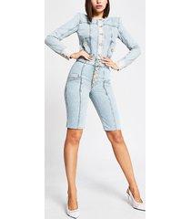 river island womens blue high rise button front denim shorts