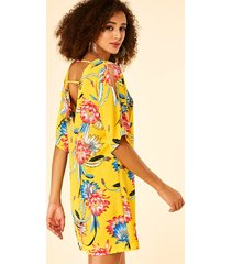 yoins yellow backless design floral print v-neck half sleeves dress