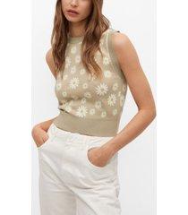 mango floral-print knitted vest