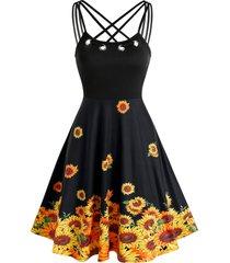 criss cross grommet sunflower print dress