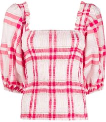ganni ruched check top - red
