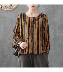 zanzea mujer de manga larga de cuello redondo tela escocesa comprobar tapas de la camisa de gran tamaño retro de la blusa -amarillo