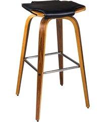 banqueta bar para cozinha restaurante giratória jack base madeira pu preto - gran belo - tricae