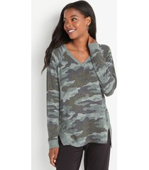 maurices womens haven cozy camo v neck sweatshirt green