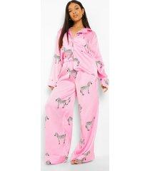 petite zebraprint pyjama set met broek, hot pink