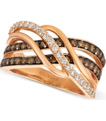 le vian chocolatier diamond twist ring (1 ct. t.w.) in 14k rose gold
