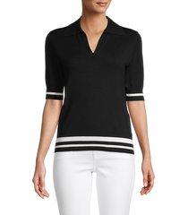 saks fifth avenue women's contrast stripe johnny collar pullover - black - size s