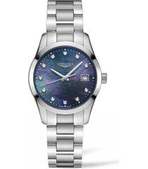 women's longines conquest classic diamond bracelet watch, 34mm