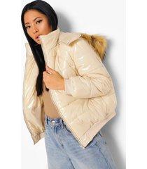 petite oversized gewatteerde jas met faux fur capuchon, sand