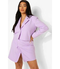 plus korte getailleerde premium wikkel blazer, lilac