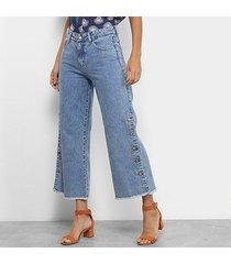 calça jeans mom mercatto botões feminina
