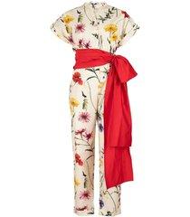 ecru floral print belted jumpsuit