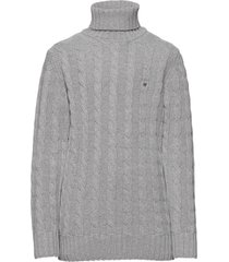 d1. cotton cable turtle neck pullover grijs gant