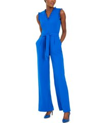 calvin klein petite belted ruffle jumpsuit
