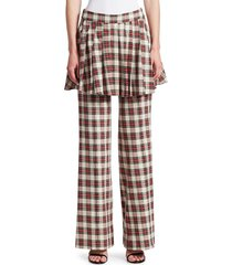 maggie marilyn women's she's in charge layered plaid pants - cream red - size 10