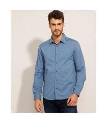 camisa comfort de algodão estampada de poá manga longa azul marinho