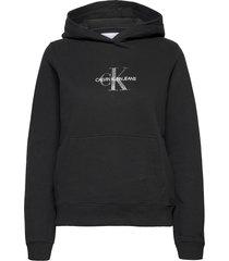 glitter monogram hoodie hoodie trui zwart calvin klein jeans