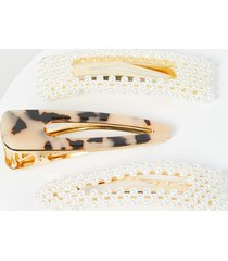 lane bryant women's pearlescent & tortoise-shell print hair clips - 3-pack onesz pearl