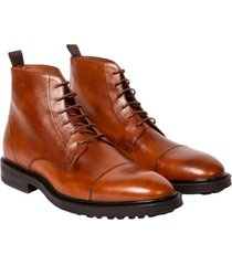 cognac tan lace-up high top shoe