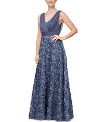 alex evenings 3d-floral surplice gown