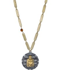 t.r.u. by 1928 14 k gold dipped sitting budda on vintage-like chain necklace