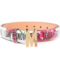 moschino floral print logo plaque belt - pink