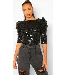 tall blouse met schoudervulling en pailletten, black