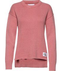 relaxed washed rib sweater gebreide trui roze calvin klein jeans