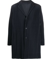 homme plissé issey miyake ribbed button front light coat - blue
