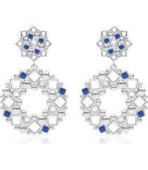 orecchini pendenti in ottone rodiato con ciondolo a cerchio, cristalli e smalto blu per donna
