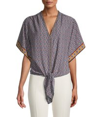 max studio women's printed knot front top - navy multi - size s