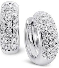 arabella swarovski zirconia small huggie hoop earrings in sterling silver