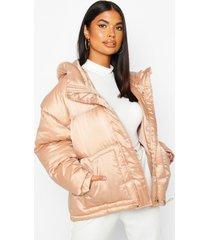 satin hooded puffer jacket, nude